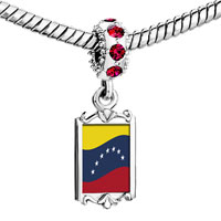 Charms Beads - red crystal dangle venezuela flag Image.