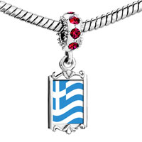 Charms Beads - red crystal dangle greece flag Image.
