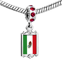 Charms Beads - red crystal dangle mexico flag Image.