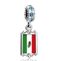 Aquamarine Crystal Dangle Mexico Flag