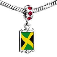 Charms Beads - red crystal dangle jamaica flag Image.