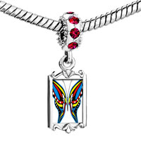 Charms Beads - red crystal dangle exotic blue yellow &  butterfly Image.