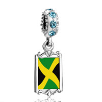 Aquamarine Crystal Dangle Jamaica Flag