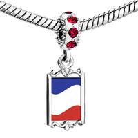 Charms Beads - red crystal dangle yugoslavia flag Image.