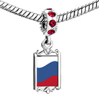 Charms Beads - red crystal dangle russia flag Image.