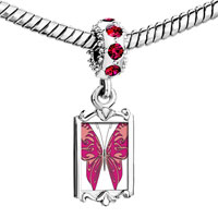 Charms Beads - red crystal dangle shades pink butterfly Image.