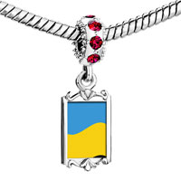 Charms Beads - red crystal dangle ukraine flag Image.