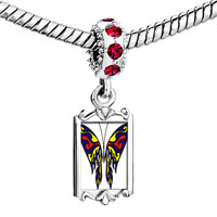 Charms Beads - red crystal dangle blue &  yellow butterfly Image.