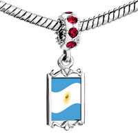 Charms Beads - red crystal dangle argentina flag Image.