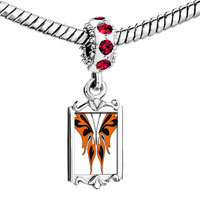 Charms Beads - red crystal dangle orange black butterfly Image.