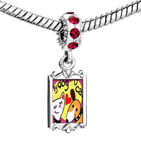 Charms Beads - red crystal dangle my dog loves cat Image.