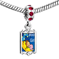 Charms Beads - red crystal dangle moon girl Image.