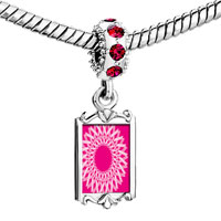 Charms Beads - red crystal dangle circle pink ribbons Image.