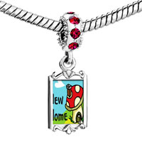 Charms Beads - red crystal dangle new home Image.