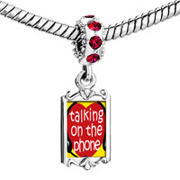 Charms Beads - red crystal dangle love talking on phone Image.