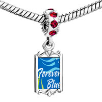 Charms Beads - red crystal dangle forever blue Image.