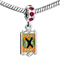 Charms Beads - red crystal dangle priceless piece Image.