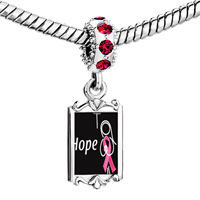 Charms Beads - red crystal dangle hope pink ribbon Image.