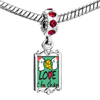 Charms Beads - red crystal dangle love is to share cute rat Image.