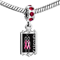 Charms Beads - red crystal dangle friends support pink ribbon Image.