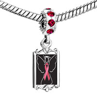 Charms Beads - red crystal dangle angel hope pink ribbon Image.