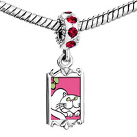Charms Beads - red crystal dangle persian cat Image.