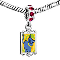 Charms Beads - red crystal dangle russian blue cat Image.