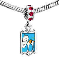 Charms Beads - red crystal dangle bobtail cat Image.