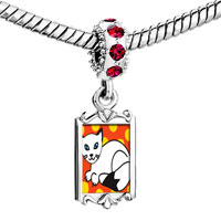 Charms Beads - red crystal dangle balinese cat Image.