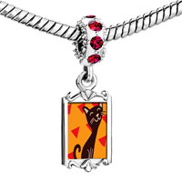 Charms Beads - red crystal dangle havana brown cat Image.
