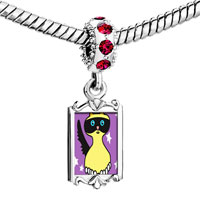 Charms Beads - red crystal dangle birman cat Image.