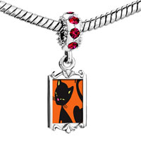 Charms Beads - red crystal dangle bombay cat Image.