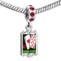Charms Beads - red crystal dangle my good luck Image.