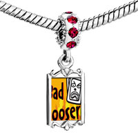 Charms Beads - red crystal dangle bad looser Image.
