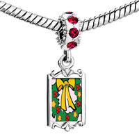 Charms Beads - red crystal dangle christmas wreath Image.