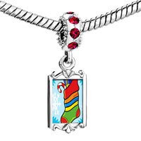 Charms Beads - red crystal dangle christmas stocking snow Image.