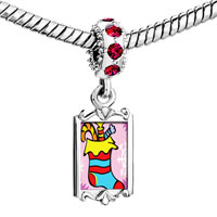 Charms Beads - red crystal dangle cy christmas stocking Image.
