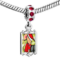 Charms Beads - red crystal dangle christmas santa mouse Image.