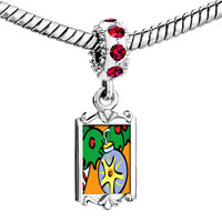 Charms Beads - red crystal dangle christmas ornament Image.
