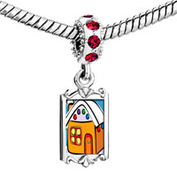Charms Beads - red crystal dangle gingerbread christmas house Image.