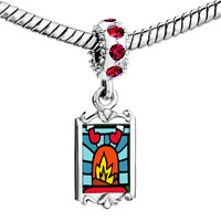 Charms Beads - red crystal dangle christmas fireplace Image.