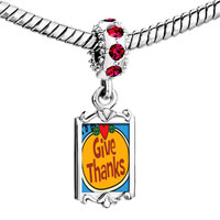 Charms Beads - red crystal dangle give thanks heart jack o lantern halloween pumpkin Image.