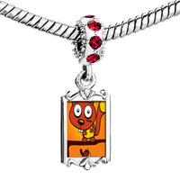 Charms Beads - red crystal dangle large eyed comic badger Image.