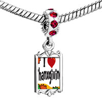 Charms Beads - red crystal dangle i love thanksgiving Image.