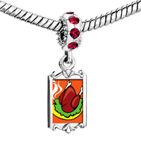 Charms Beads - red crystal dangle sizzling delicious turkey Image.