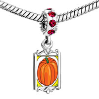Charms Beads - red crystal dangle jack o lantern halloween pumpkin love Image.