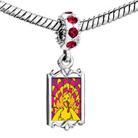 Charms Beads - red crystal dangle bright yellow turkey Image.