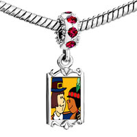 Charms Beads - red crystal dangle thanksgiving pilgrim indian couple Image.