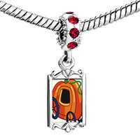 Charms Beads - red crystal dangle jack o lantern halloween pumpkin princess stage coach Image.