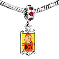Charms Beads - red crystal dangle cute jack o lantern halloween pumpkin boy Image.
